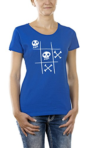 Touchlines Tic Tac Dead, T- T-Shirt Femme, Bleu (Royal), XS