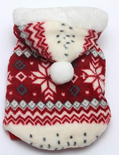 DMMW Welpen Mantel Kapuzenpullover aus Coral Fleece Mantel mit Schneeflockenprint, Herbst Winter Kleid rot mit Kapuze mit Zwei Beinen ()