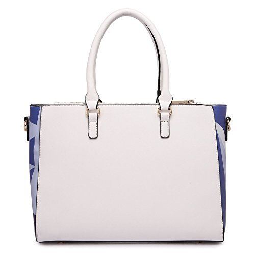 Miss Lulu Leather Look V-Shape Shoulder Handbag (1667 Navy)