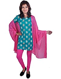 Womens Cottage Dark Pink Cotton Lycra Slim Fit Churidar Style Leggings & Chiffon Dupatta With Pom Pom Lace Combo...