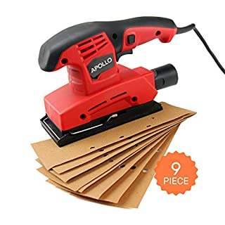 Hi-Spec 135 Watt 1/3 Sheet Orbital Sander with 9 Piece Sand Paper Kit, heavy duty sanding tool for smoothing wood and removing paint