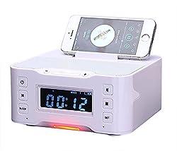 Powerlead Nfc Bluetooth Docking Speaker Supported Radio Alarm Clock For Applesamsunglg Phones & Tablets---white