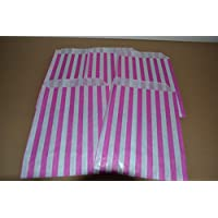 """50 PINK CANDY STRIPE SWEET GIFT PAPER BAGS Premium Quality British Made 5"""" X 7"""""""