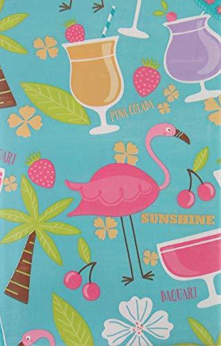 Summer Fun Tropical Island Cocktail Party und Flamingos mit Reißverschluss Regenschirm Loch Vinyl Tischdecke Flanell Rückseite 70