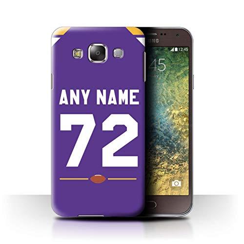 eSwish Personalisiert Individuell Amerikanischer Fußball Jersey 2 Hülle für Samsung Galaxy E5/E500 / Lila Design/Initiale/Name/Text Schutzhülle/Case/Etui