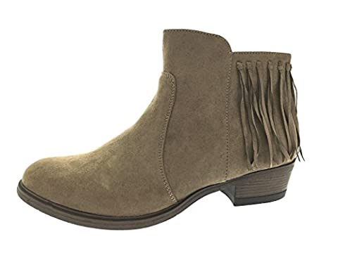 Lora Dora Womens Chunky Block Heel Chelsea Tassel Ankle Boots Size UK 5 Taupe