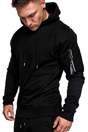 Amaci&Sons Herren Cargo-Style Pullover Sweatshirt Hoodie Sweater Camouflage 4003 Schwarz L Herren Hoodie
