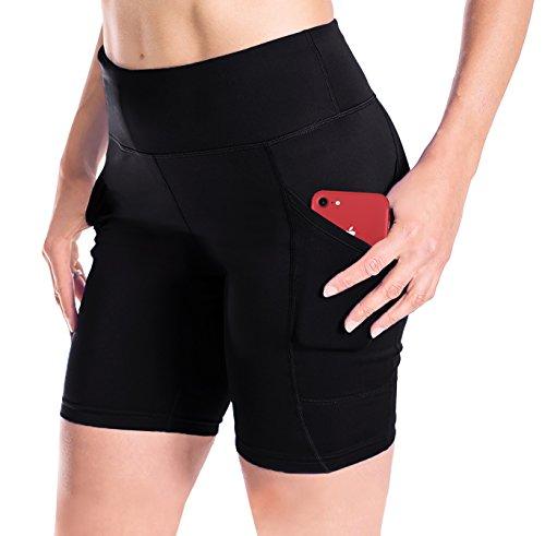 Yogipace Damen Sport-Shorts, 17,8 cm / 25,4 cm, UPF 50+ Kompressions-Aktiv-Workout-Shorts mit Handytaschen, Damen, Black-Upgraded Compression Fabric, XXL-Waist 34