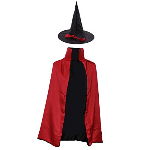 Gazechimp Halloween Zauberer Hexe Umhang Karneval Fasching Kostüm umhänge Cosplay Hexen Robe - Rot, 90 (Kostüme Hexe Für Jungen)