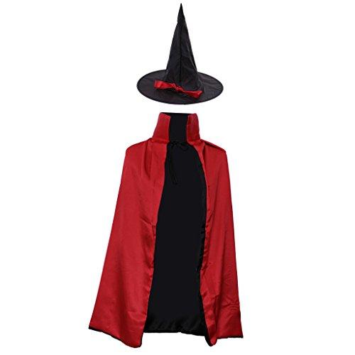 Gazechimp Halloween Zauberer Hexe Umhang Karneval Fasching Kostüm umhänge Cosplay Hexen Robe - Rot, 90 cm (Klassische Hexe Erwachsene Kostüme)