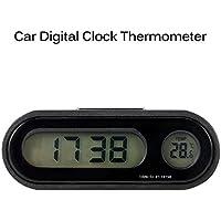 AOZBZ Reloj de Coche, Pantalla LCD Grande 2 en 1, Reloj Digital para Coche con Termómetro, Uso para salpicadero de Coche/hogar/Oficina, etc.