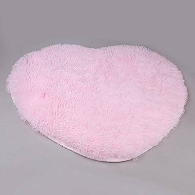 Heart-Shape Soft Fluffy Bedroom Rug Carpet Floor Mat Cover Decoration (Light Pink) - low-cost UK light shop.