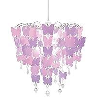 Decorazione Lampadario con Farfalle Paralume per Camera da Letto Bambini Bambine Rosa Viola con Pendenti