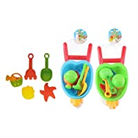 Eddy Products Kids Garden Wheelbarrow Beach Toy Set 6pc Childrens Small Tool Play Set Assorted Colours Beach Set Great for kids toddlers baby