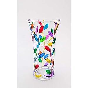 Laurus Vase groß 250 multicolor mix in handbemaltem Kristall Murano-Stil Venedig