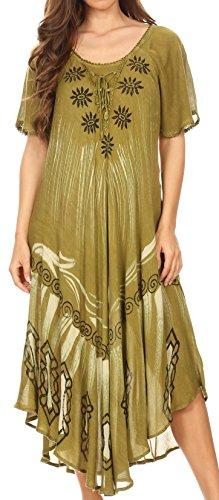 Sakkas 17135 - LIDA Damen Alltag Sommer Entspanntes Kleid mit kurzen Ärmeln & Block Print - Army Green - OS (Pailletten-bauer-spitze)