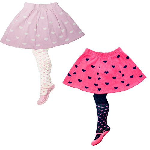 Mädchenstrumpfhose 2 in 1 mit Rock 2-er Set pink rosa Herzen Strumpfhose RASP-1 Gr. 92 - 98 (Herz Set Rock)