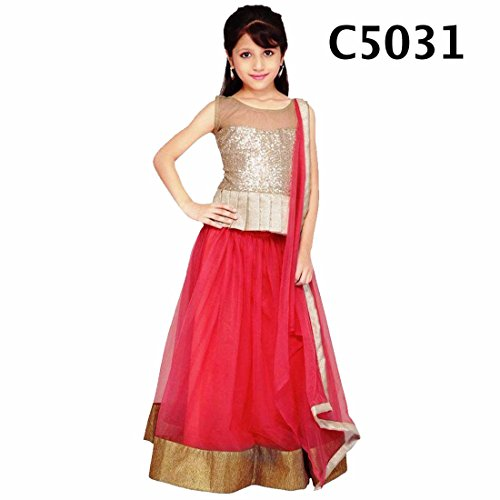 CmDeal Pink & Golden Color Party Wear Semi-Stitched Embroidered Net Lehenga Choli With Heavy Designer Brocket Top-5219LAC5031  available at amazon for Rs.399