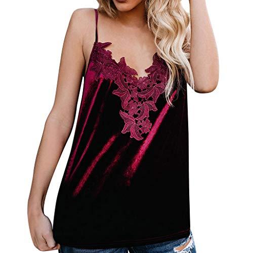 OIKAY schulterfrei Oberteil Damen Sommer Solide Floral Lace Velvet Strappy V-Ausschnitt Camis Top Tank Shirt sexy Oberteil Damen -