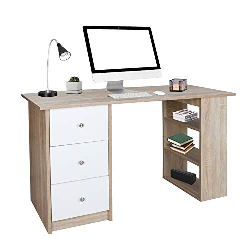 wolketon Schreibtisch, Computertisch, Bürotisch, für jeden Raum, Große Speicherkapazität, Maße: 120 x 49 x 72 cm(Weißes Holzfarbe)