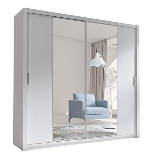 Kleiderschrank mit Spiegel Geodi, Elegante und Modernes Schwebetürenschrank, Schiebetür, Schlafzimmerschrank, Schlafzimmer, Jugendzimmer (220 cm,...