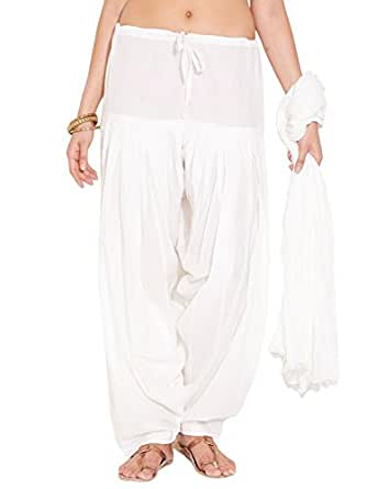 Traditional 2 Trendy Women's Cotton Full Gher Layered Patiala and Dupatta Set (T2TSP01CRX, White , Free Size)