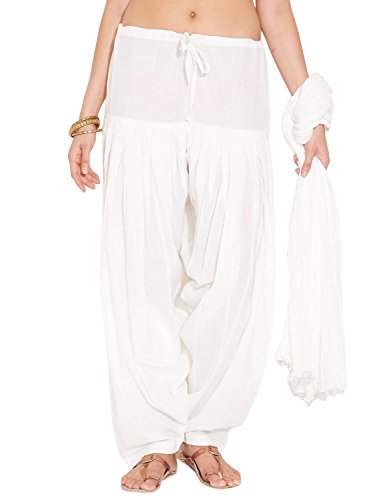 Stylenmart Women Cotton Solid Full Patiala Salwar Dupatta Set (Stmapa078611 _White _Free...