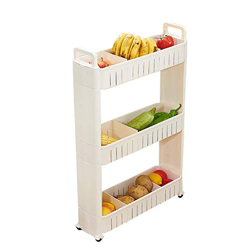 CLEAVE WAVES 3-Tier Slide Out Storage Tower, Dusche Caddy Ecke Rostfrei Weiß Regal Küche Bad Storage Unit (83 * 54 * 17 cm)