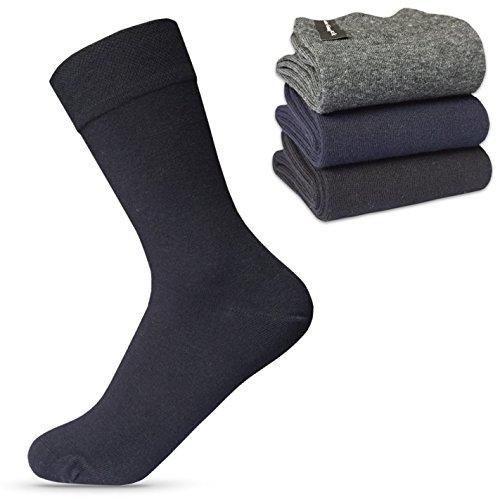 Happy Bavaria Damen Socken ohne Gummi Damensocken 100 baumwolle 39-42 schwarz mit weitem bund diabetikersocken diabetiker Comfort gummibund venenfreundlich naht 39 40 41 42 (9x, schwarz, 39-42)