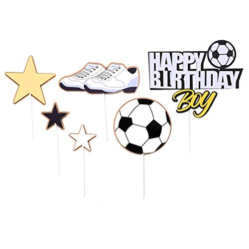 TOYANDONA 18 Stücke Cupcake Topper Fußball Form Kuchen Topper Tortentopper für Baby Shower Geburtstag Sport Thema Party Dekoration Liefert