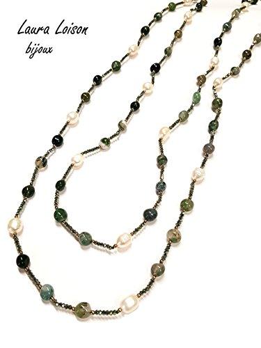 Laura loison bijoux - collana donna lunga con perle e pietre naturali - gioiello fatto a mano