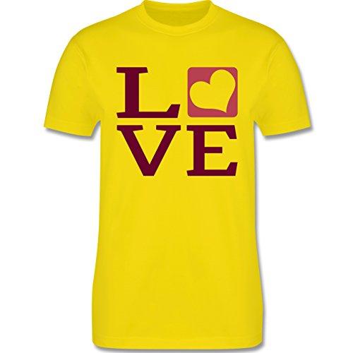 Valentinstag - LOVE Herz Typographie - Herren Premium T-Shirt Lemon Gelb