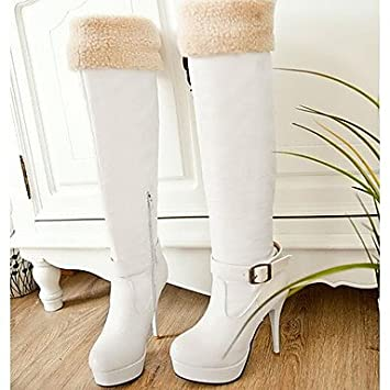GLL&xuezi Damen Stiefel Komfort Nubukleder PU Herbst Winter Normal Weiß  Schwarz 12 cm & mehr: Amazon.de: Sport & Freizeit