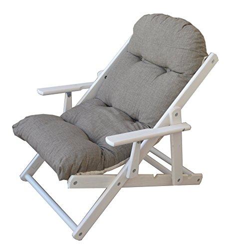 Liberoshopping poltrona sedia sdraio relax 3 posizioni in legno pieghevole cuscino imbottito h 100 cm colore come foto (cuba)