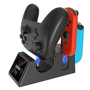 OIVO 5 in 1 Controller Ladegerät kompatibel mit Nintendo Switch, Ladestation kompatibel mit Switch Joy Cons und Pro Controller, mit LED Ladeanzeigen und USB-Ladekabel