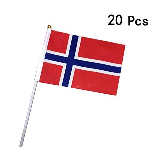 Georgie Porgy Fußball Nationalflaggen Handflagge Parteien Olympische Spiele (20 PCS kleine Norwegen-Flaggen) Norwegen-pc
