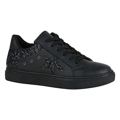 Damen Schuhe Sneakers Basic Sportschuhe Schnürer Leder-Optik 155978 Schwarz Schwarz 40 Flandell (Basic Schuh Casual Leder)