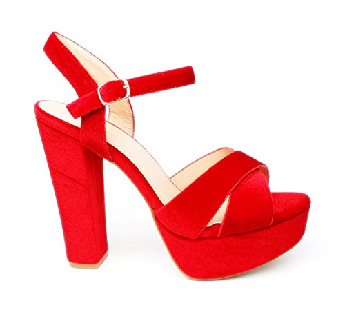 King Of Shoes Klassische Trendige Damen Mary Jane Riemchen Pumps Stilettos Party High Heels Plateau Schuhe Bequem 18 (39, Rot 07)