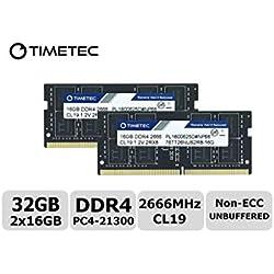 Timetec Hynix IC 32 Go Kit (2 x 16 Go) DDR4 2666 MHz PC4-21300 sans Tampon Non ECC 1,2 V CL19 2Rx8 Double rangée 260 Broches SODIMM pour Ordinateur Portable