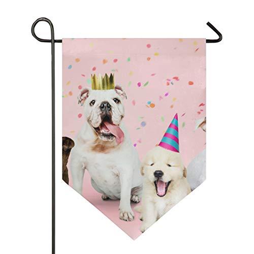 SENNSEE Hausflagge Tierhund Happy Birthday Gartenflagge 30,5 x 45,7 cm, doppelseitig, dekorative Hofflagge für Zuhause und im Freien, Polyester, Multi, 12x18.5 (Freien Flagge Happy Im Birthday)