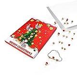 Yukio Festival - Adventskalender Schmuck Emoji Set 24-teilig Geschenke Überraschung mit Ohrstecker Kette Weihnachtskalender für Damen Mädchen