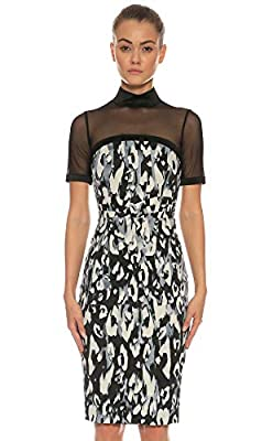 Karen Millen Leopard Print Mesh Signature Satin Pencil Party Dress 6 to 14