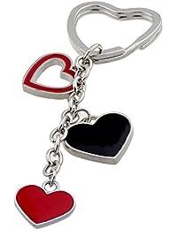 ISHOW - Colgante para Llavero con corazones en rojo y negro