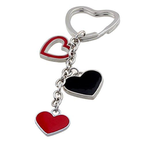 ISHOW Couple Rouge Cœur Noir Pendentif voiture Porte-clés