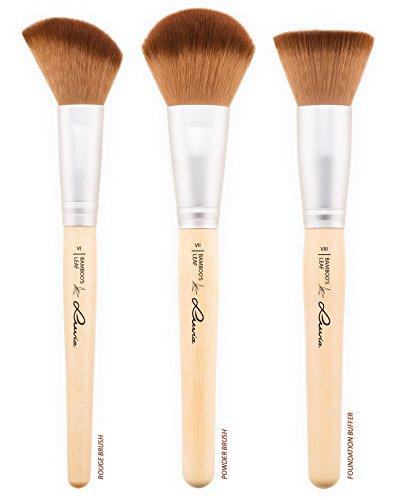 Schminkpinsel-Set Vegan von Luvia Cosmetics – 8 Make-Up Pinsel im Pinselset mit nachhaltigen Bambus-Griffen und einer Pinseltasche – Tierversuchsfreie Kosmetik - 2