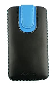 Emartbuy® Black / Blue Plain Premium PU Leather Slide in Pouch Cover ( 3XL ) With Pull Tab Suitable For HTC Desire 600C