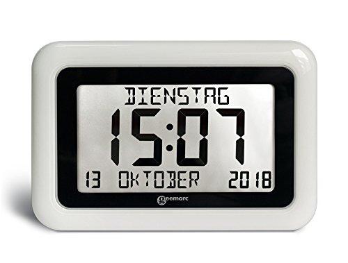 Funkuhr mit Kalender - Hilfreich für Demenz- und Alzheimer-Kranken - Geemarc VISO10 Weiss