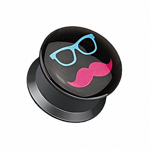 Schatten und Schnurrbart Druck schwarz Acryl flach Schraube Fassung Plug (Größe: 20 mm ) (Acryl Schatten)