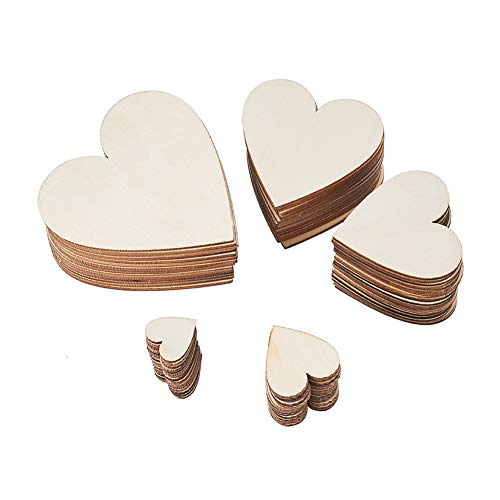 Benecreat 200pcs 5 formati assortiti in legno bianco in legno cuori abbellimenti in legno cuori fette per matrimonio, san valentino, fai-da-te, arte, artigianato, creazione della carta