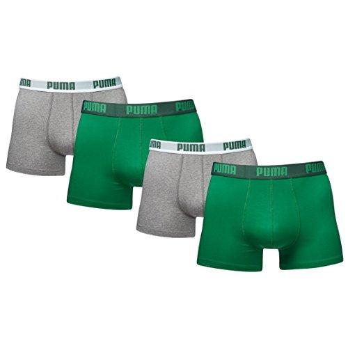 PUMA Herren Basic Boxer Boxershort Unterhose 4er Pack (amazon green, XL)